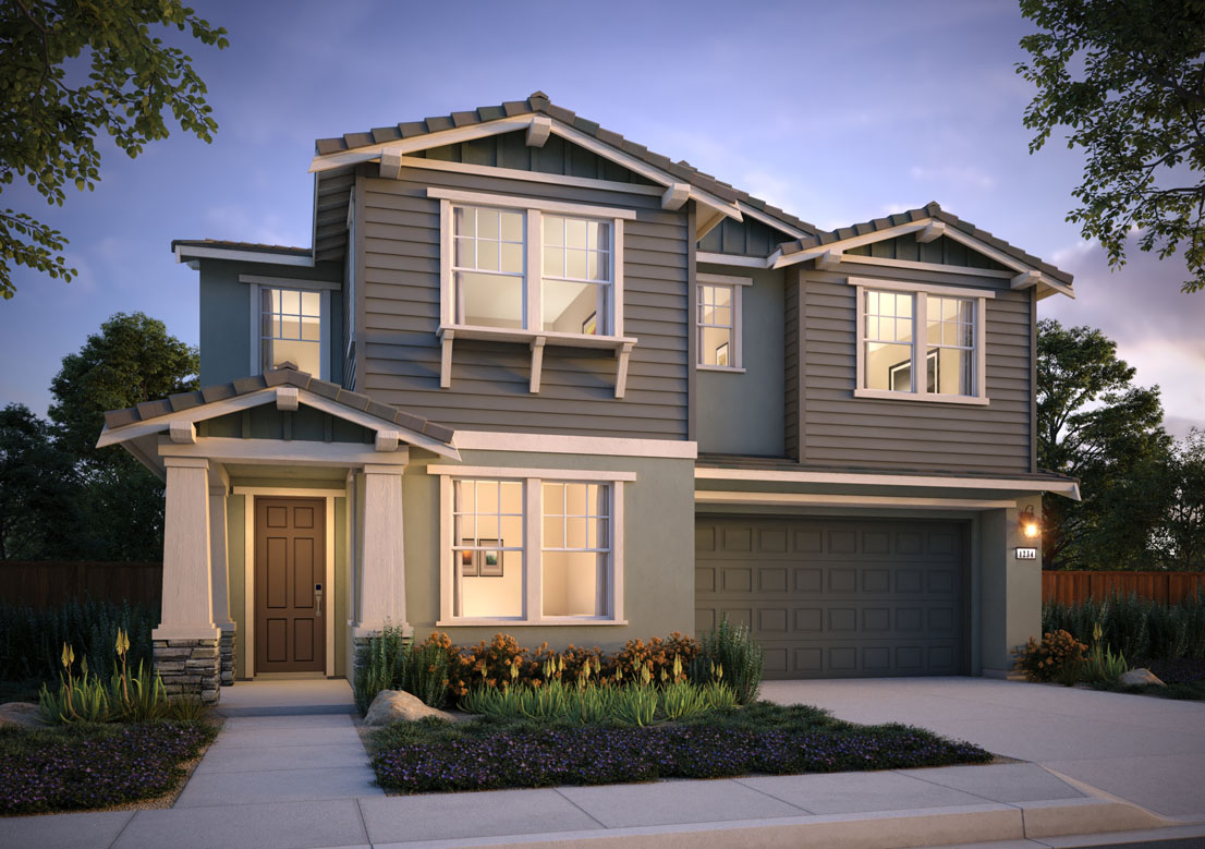 Exterior rendering of Residence 1A at Shimmer by Tri Pointe Homes at One Lake
