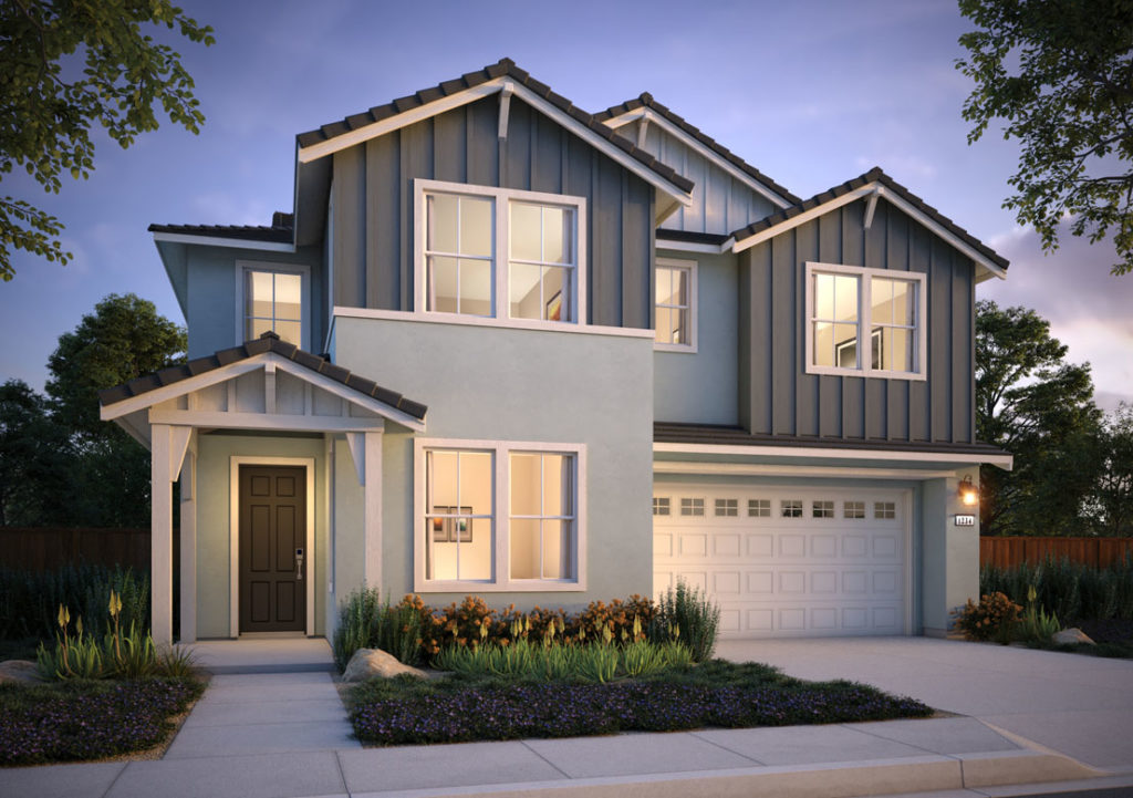 Exterior rendering of Residence 1B at Shimmer by Tri Pointe Homes at One Lake