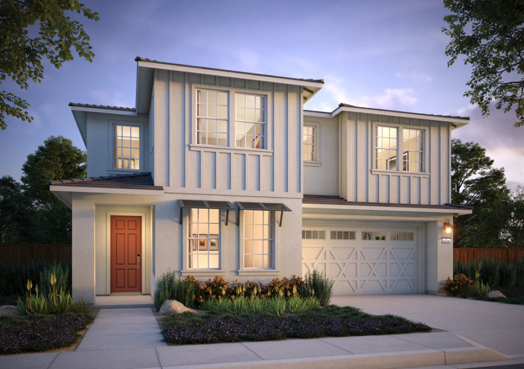 Exterior rendering of Residence 1C at Shimmer by Tri Pointe Homes at One Lake