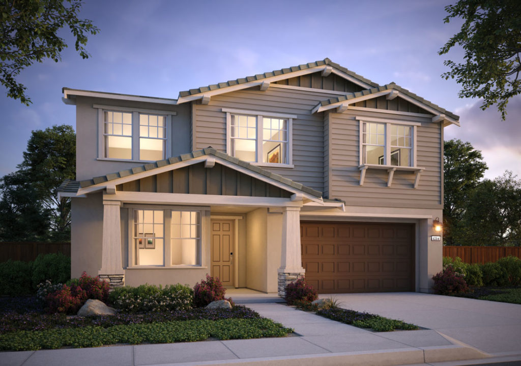 Exterior rendering of Residence 2A at Shimmer by TRI Pointe Homes at One Lake