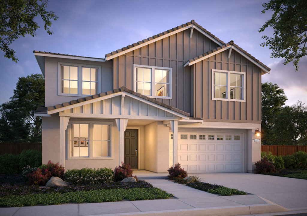 Exterior rendering of Residence 2B at Shimmer by Tri Pointe Homes at One Lake