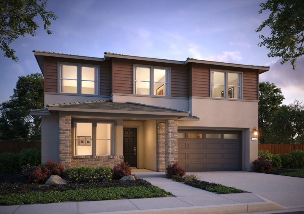 Exterior rendering of Residence 2D at Shimmer by Tri Pointe Homes at One Lake