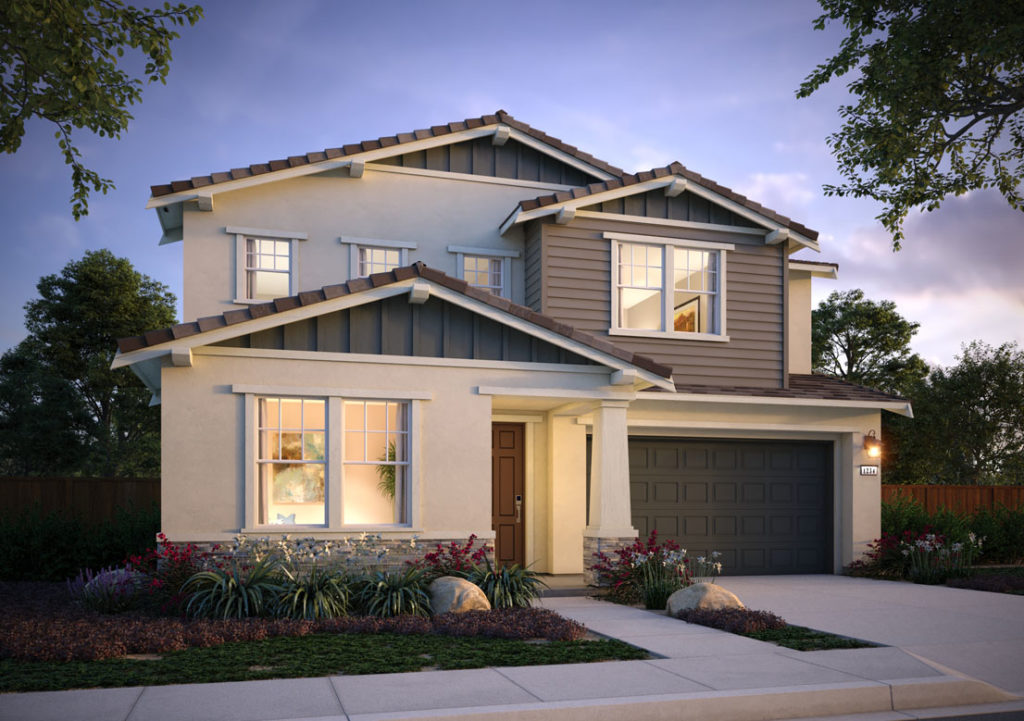 Exterior rendering of Residence 3A at Shimmer by Tri Pointe Homes at One Lake