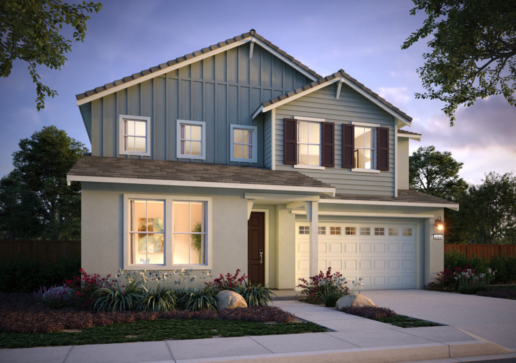 Exterior rendering of Residence 3B at Shimmer by Tri Pointe Homes at One Lake
