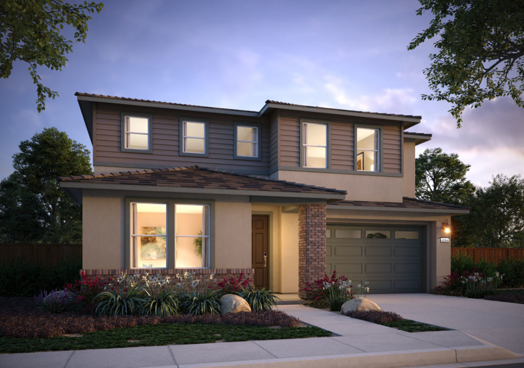 Exterior rendering of Residence 3D at Shimmer by Tri Pointe Homes at One Lake