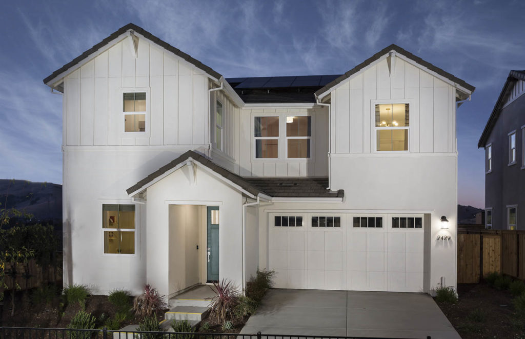 Exterior at dusk of Residence 3A at Creston by Lennar at One Lake