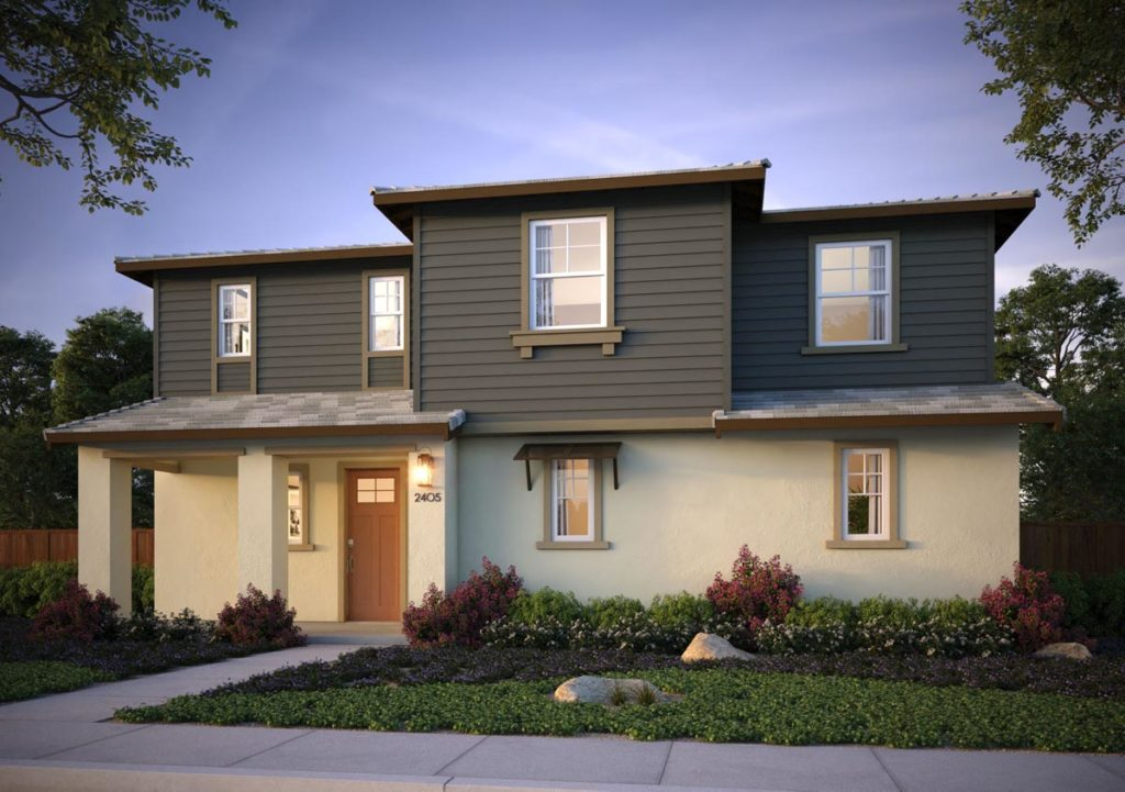 Exterior rendering of Splash Residence One elevation C by Tri Pointe Homes at One Lake