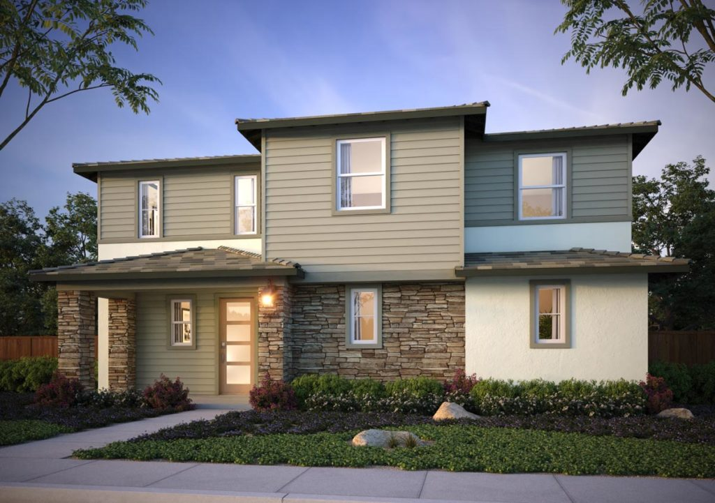 Exterior rendering of Splash Residence One elevation E by Tri Pointe Homes at One Lake