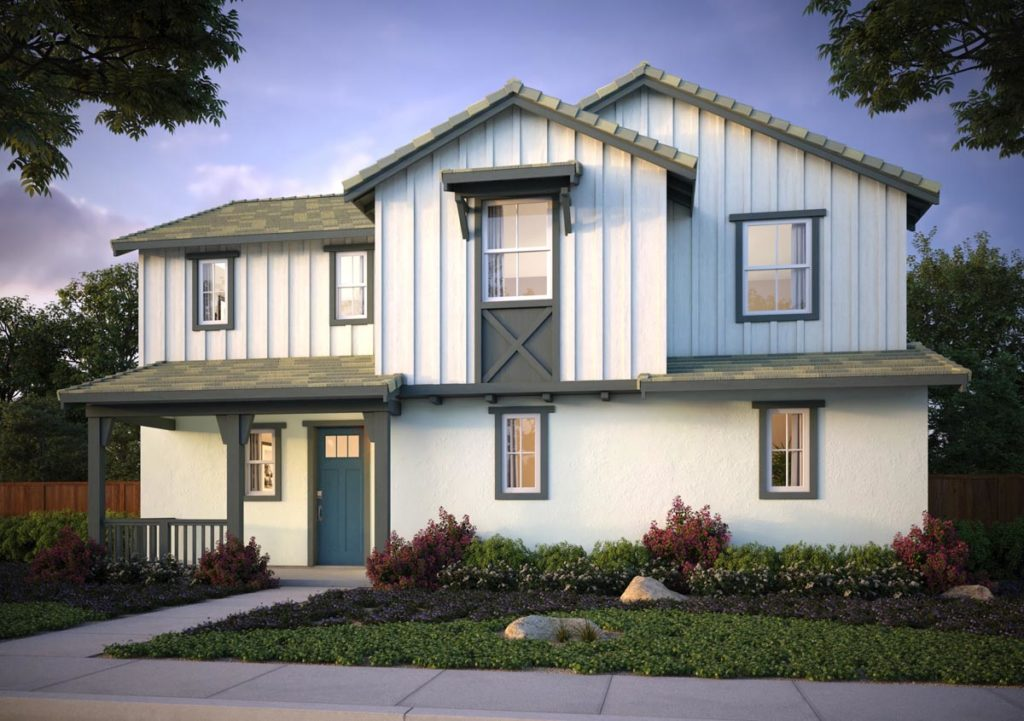 Exterior rendering of Splash Residence One elevation G by Tri Pointe Homes at One Lake
