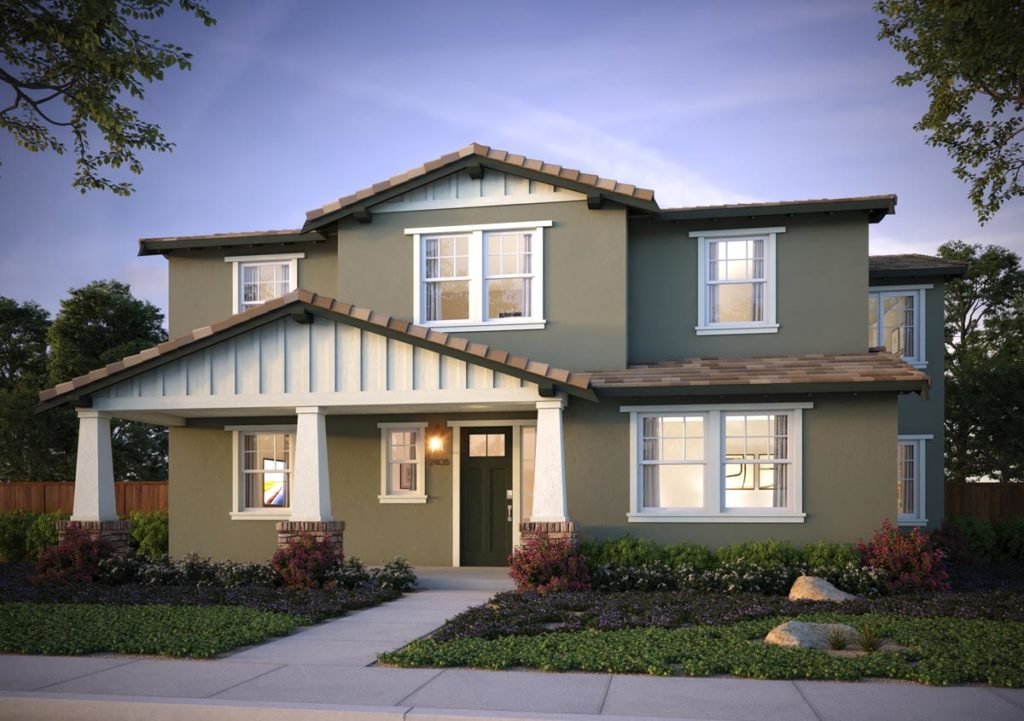 Exterior rendering of Splash Residence Two elevation B by Tri Pointe Homes at One Lake