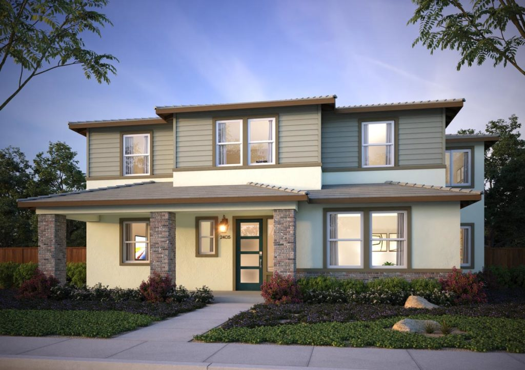 Exterior rendering of Splash Residence Two elevation E by Tri Pointe Homes at One Lake