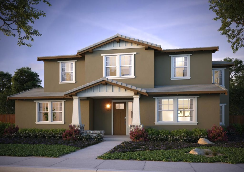 Exterior rendering of Splash Residence TwoX elevation B by Tri Pointe Homes at One Lake