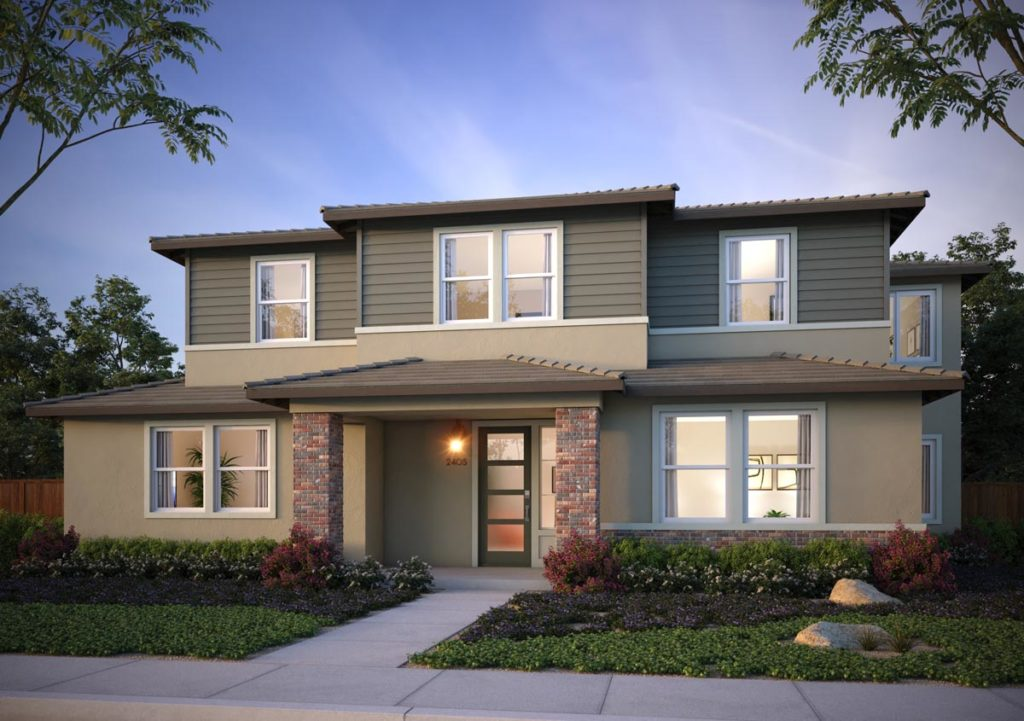 Exterior rendering of Splash Residence TwoX elevation E by Tri Pointe Homes at One Lake