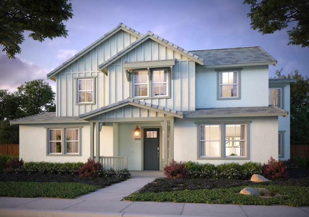 Exterior rendering of Splash Residence TwoX elevation G by Tri Pointe Homes at One Lake