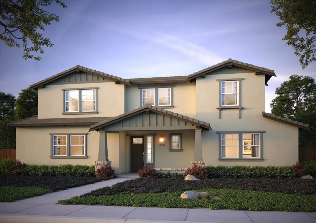 Exterior rendering of Splash Residence Three elevation B by Tri Pointe Homes at One Lake