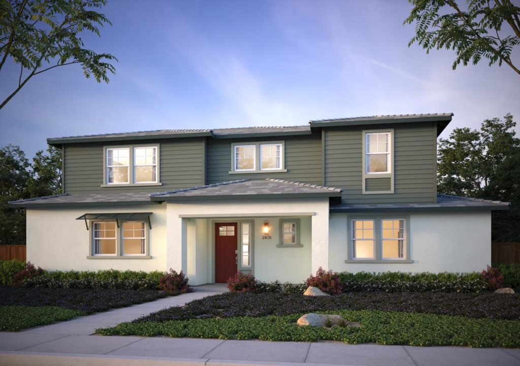 Exterior rendering of Splash Residence Three elevation C by Tri Pointe Homes at One Lake
