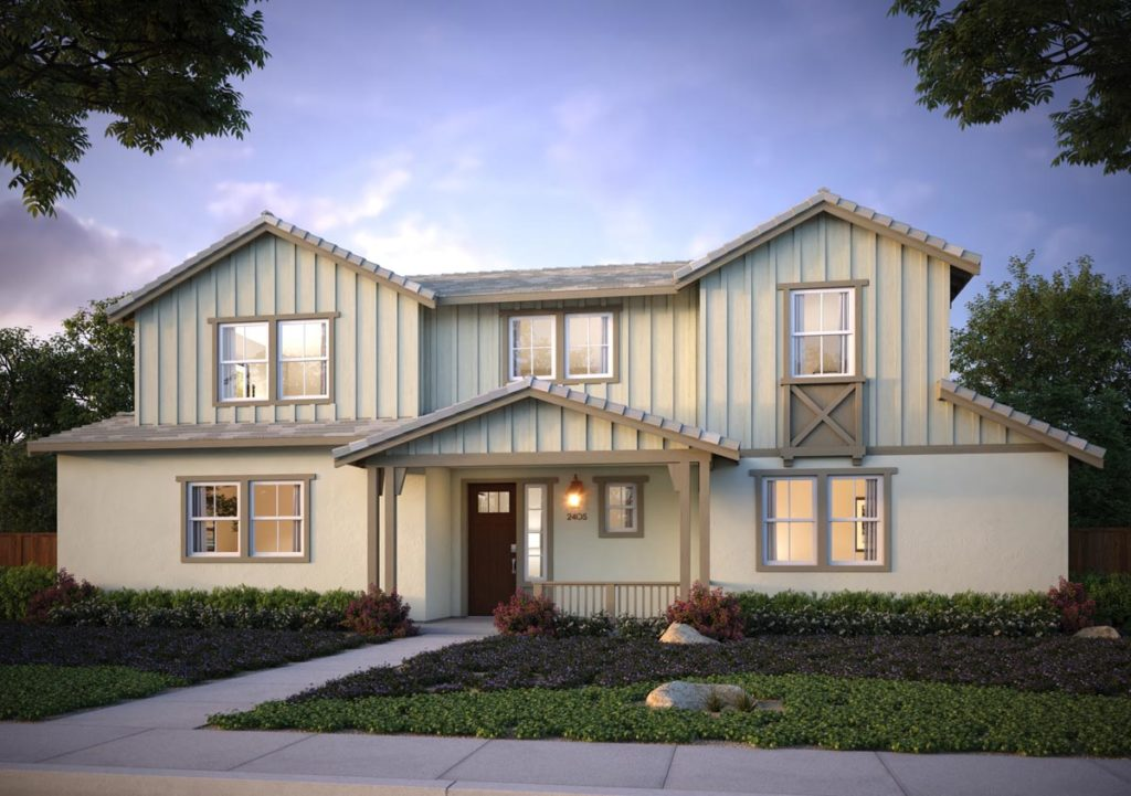 Exterior rendering of Splash Residence Three elevation G by Tri Pointe Homes at One Lake