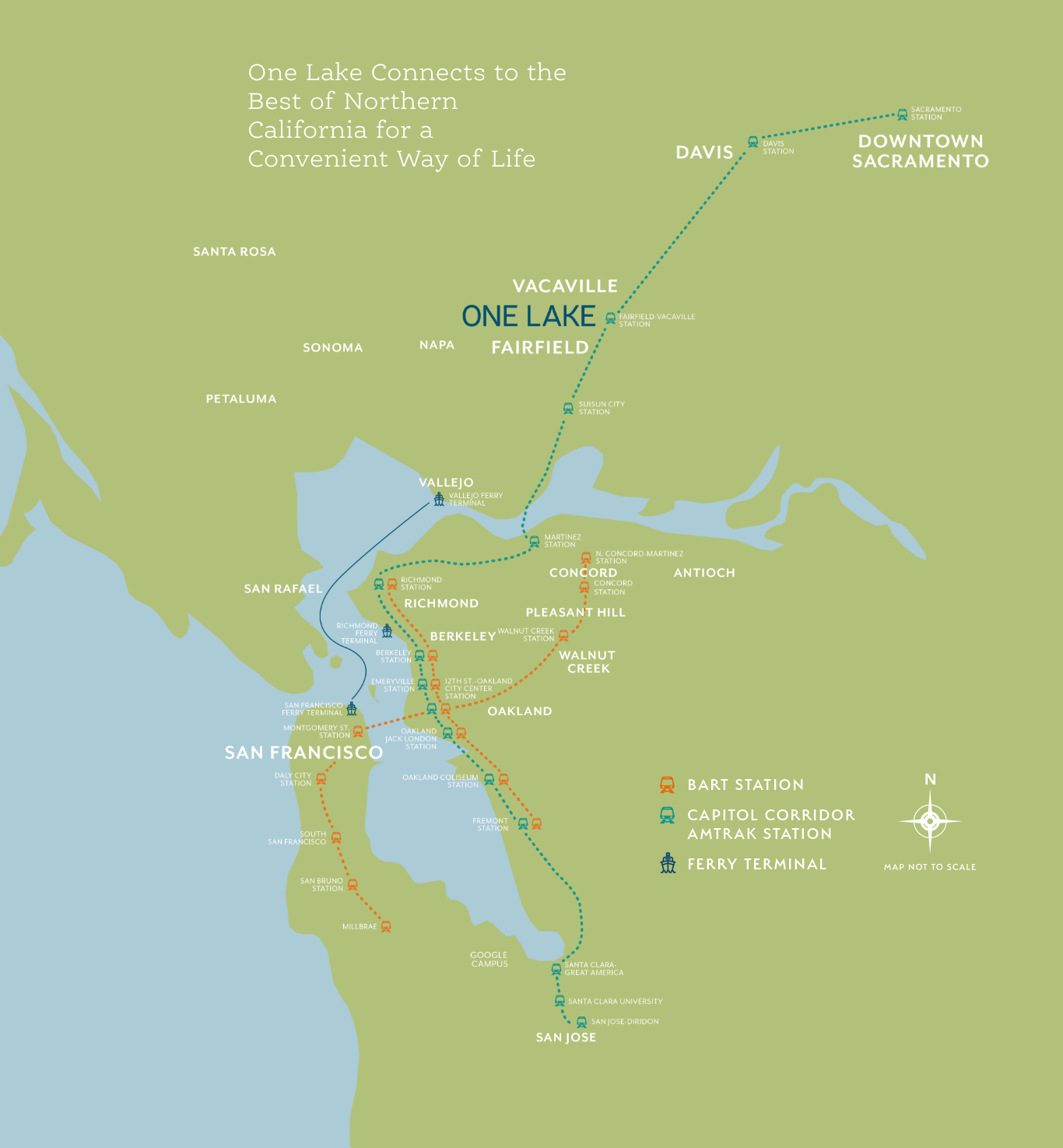 one lake area map showing the public transportation options and routes: Bart Stations, Capitol Corridor Amtrak Stations and Ferry terminals