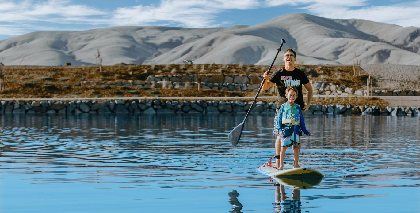 Father and son on a paddleboard